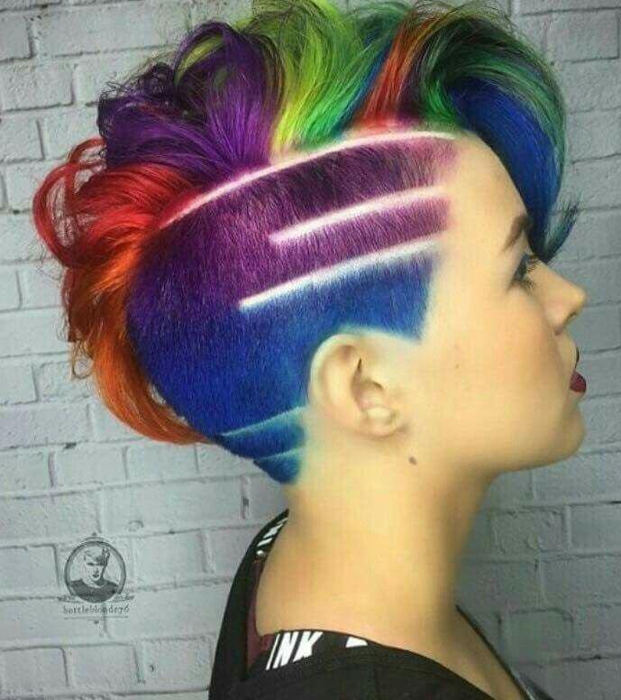 Side Shaved Rainbow Hair