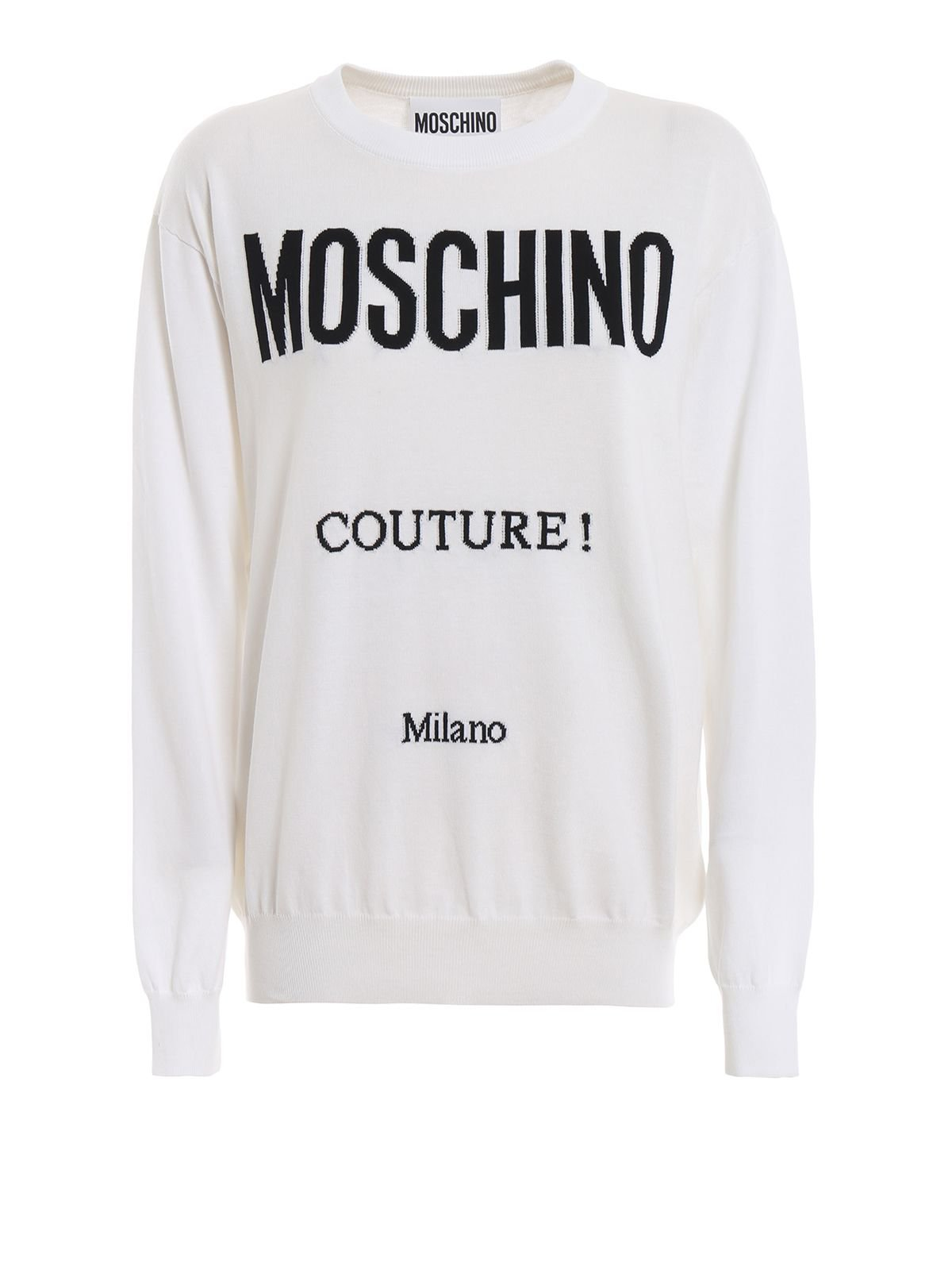 Moschino Logo Intarsia Cotton Sweater