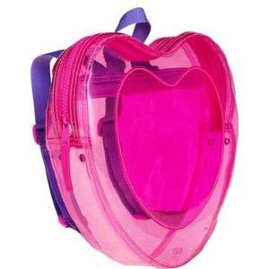 Neon pink heart backpack