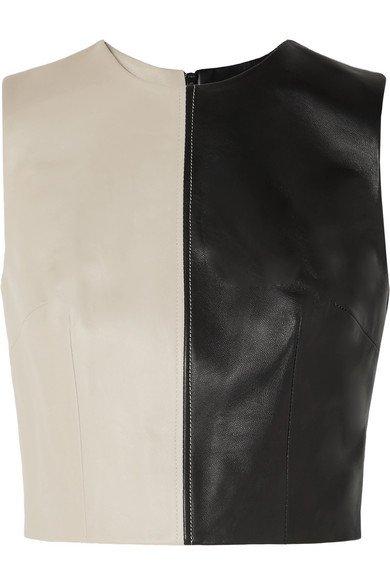 16ARLINGTON | Dickinson cropped two-tone leather top | NET-A-PORTER.COM
