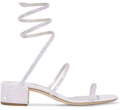 Cleo Crystal-embellished Satin And Leather Sandals - White