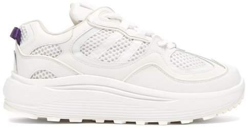 Jet Turbo Exaggerated Sole Leather Trainers - Womens - White