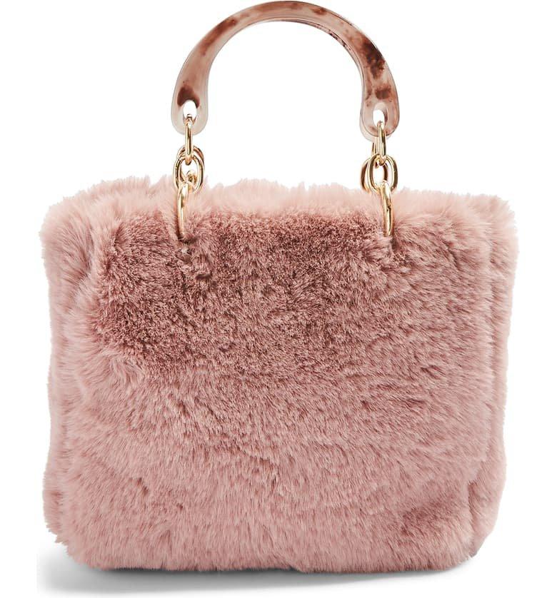Topshop Faith Faux Fur Top Handle Bag | Nordstrom