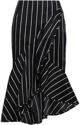 Asymmetric Fluted Striped Cotton-blend Skirt