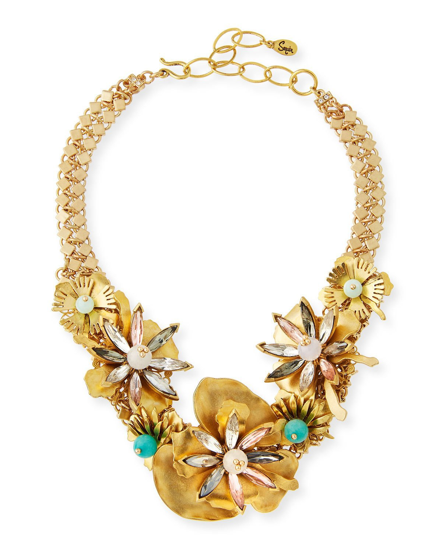 Sequin Floral Statement Choker Necklace