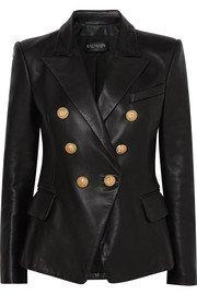 Balmain   Button-embellished collarless leather blazer   NET-A-PORTER.COM