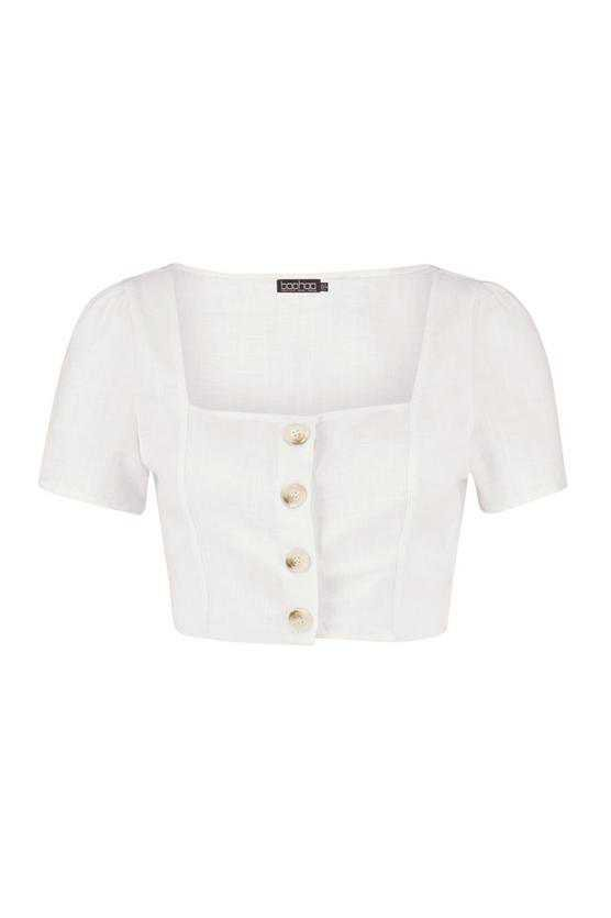 Horn Button Detail Short Sleeve Woven Blouse | Boohoo