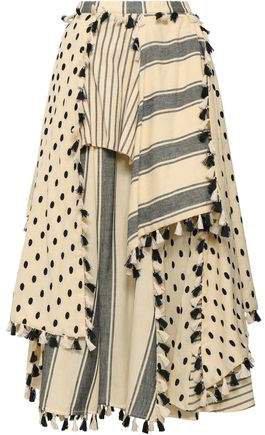 Layered Embroidered Striped Cotton-gauze Midi Skirt