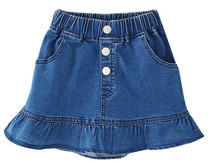 Amazon.com: Ameyda Kids Kids Skirt, Elastic High Waist Ruffle Denim Scooter Skirt for Toddler & Little Girls, Blue, Tag Size 140 = US 7-8Y: Clothing