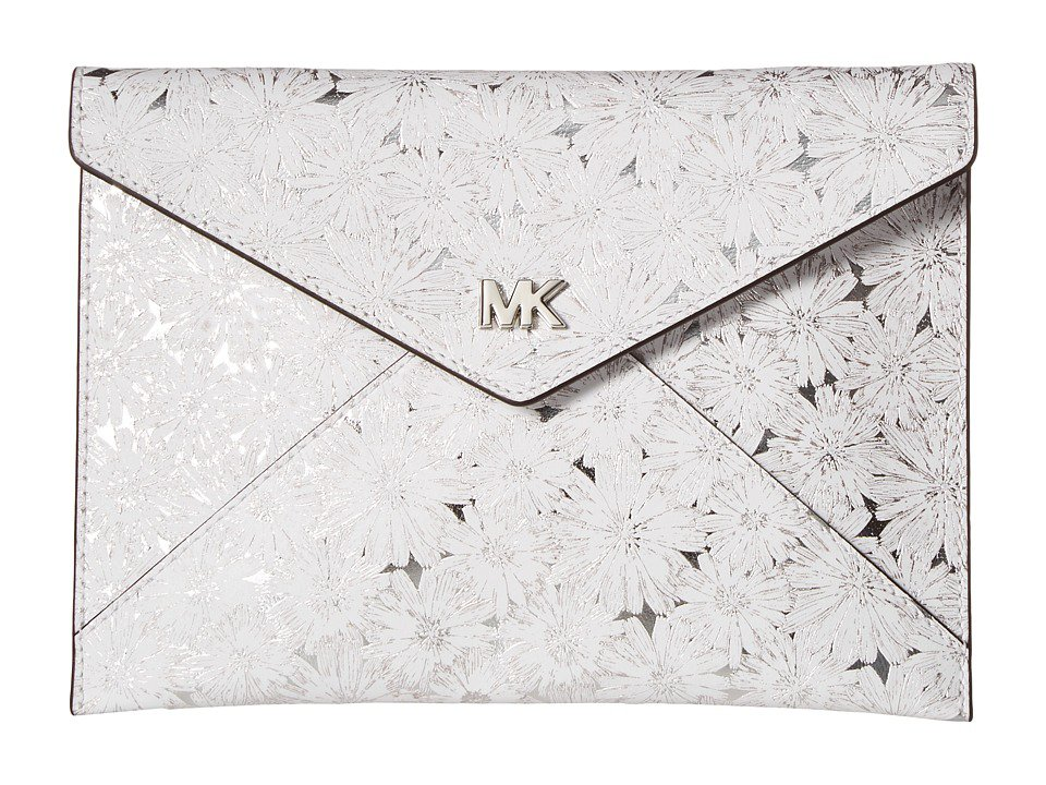 MICHAEL Michael Kors - Barbara Medium Soft Envelope Clutch (White/Silver) Clutch Handbags