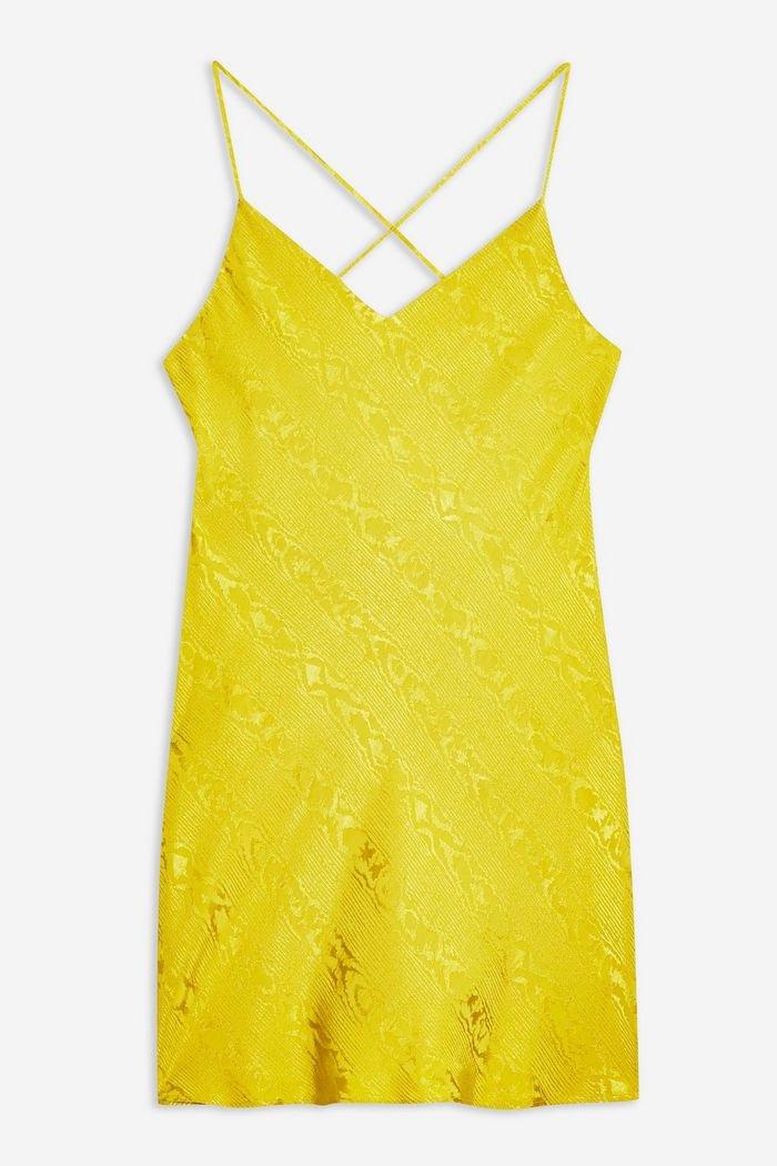 Jacquard Mini Slip Dress | Topshop yellow