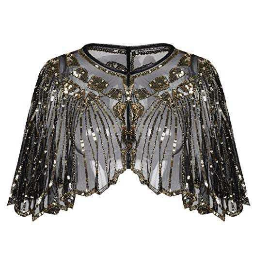PrettyGuide Women's 1920s Shawl Beaded Sequin Deco Cape Bolero Flapper Cover Up Gold at Amazon Women's Clothing store: