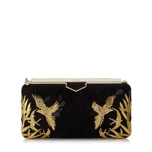 Black Suede Clutch Bag with Gold Bird Embroidery   ELLIPSE   Autumn Winter 18   JIMMY CHOO