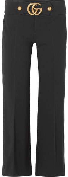 Embellished Crepe Flared Pants - Black