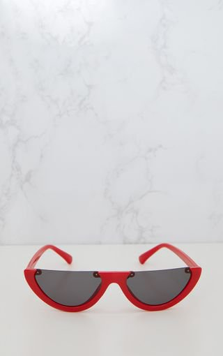 Red Rounded Half Frame Retro Sunglasses | PrettyLittleThing