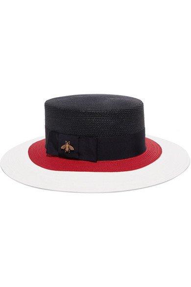 Gucci | Embellished grosgrain-trimmed straw hat | NET-A-PORTER.COM