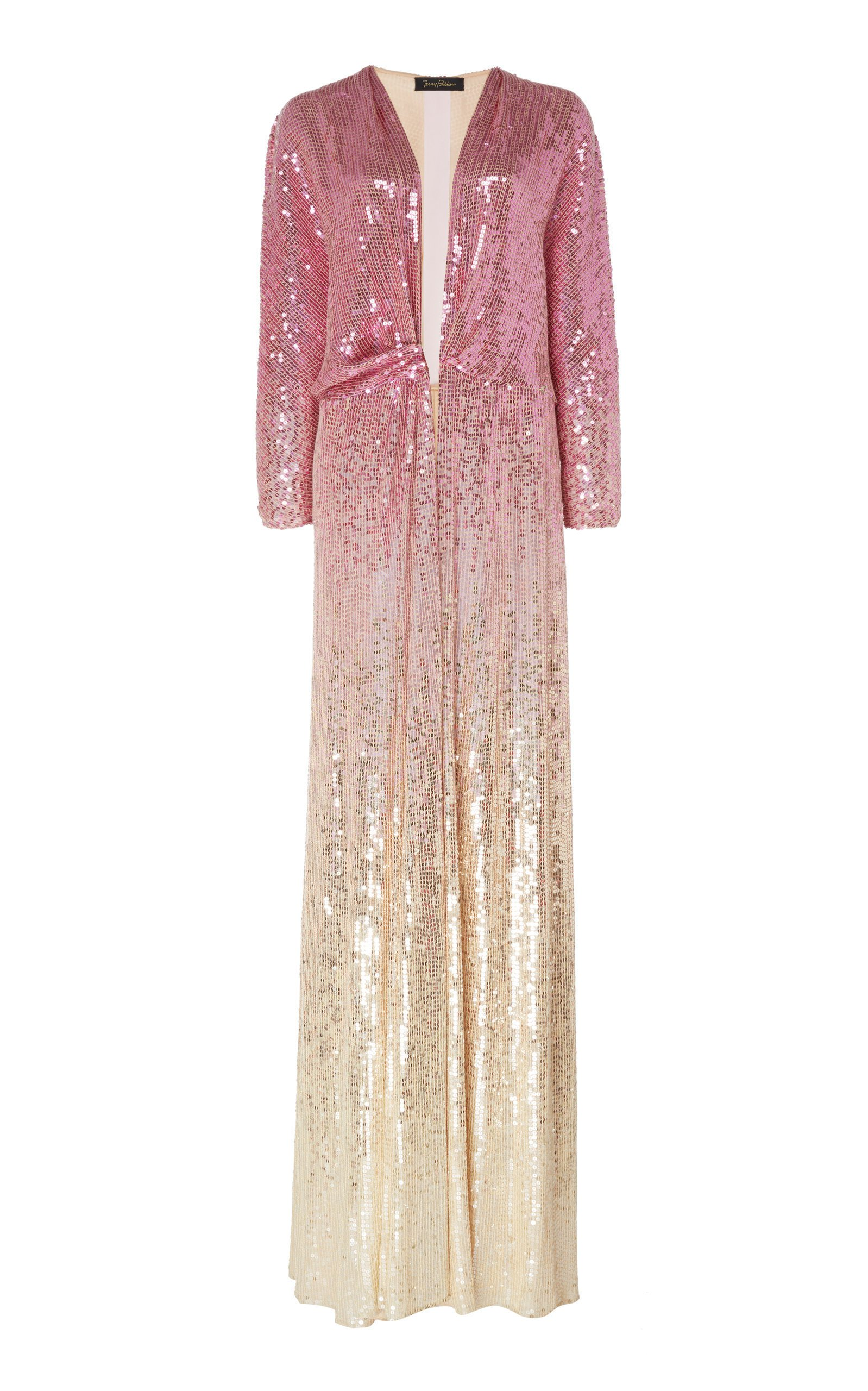 Jenny Packham Gina Ombre Sequined Chiffon Dress