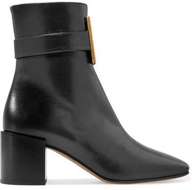 Logo-embellished Textured-leather Ankle Boots - Black