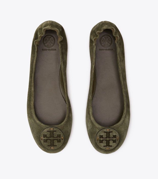 Tory Burch Minnie Travel Ballet Flat, Suede Logo: Women's Shoes