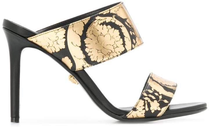 Golden Hibiscus print sandals