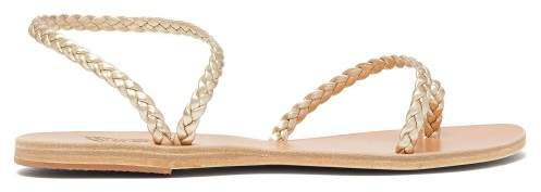 Eleftheria Braided Leather Sandals - Womens - Gold