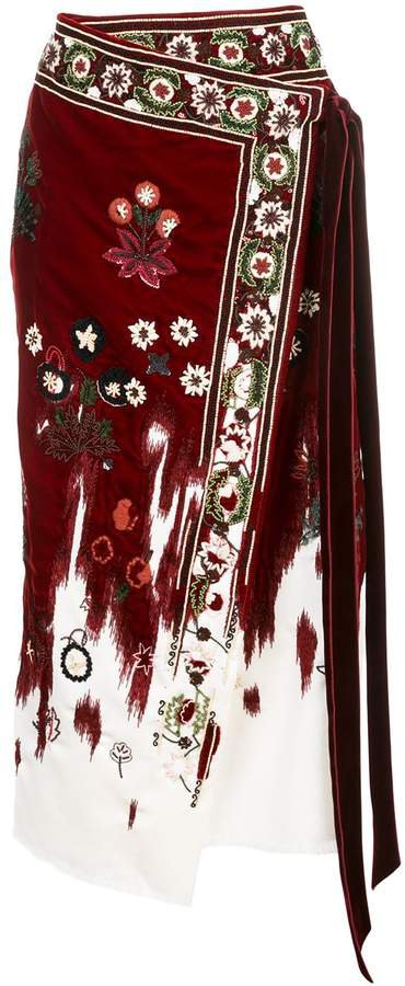 beaded floral wrap skirt