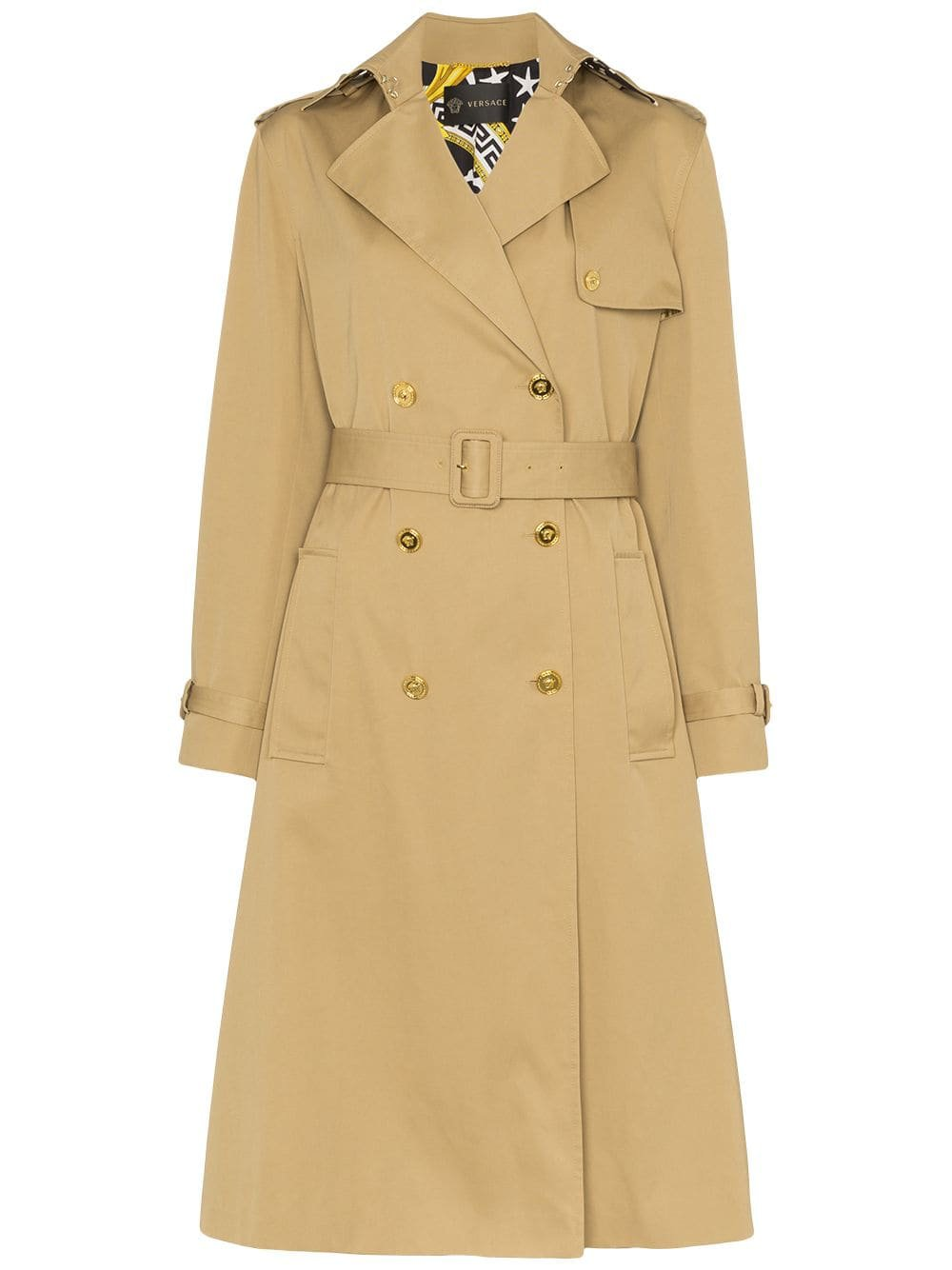 Neutral Versace Double-Breasted Belted Trench Coat   Farfetch.com