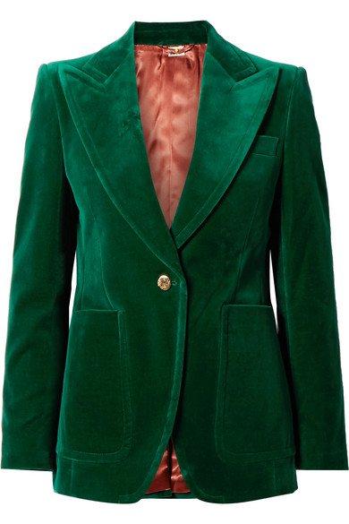 Gucci | Cotton-blend velvet blazer | NET-A-PORTER.COM