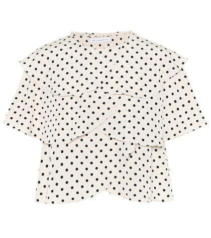 Jude flounced polka-dot top