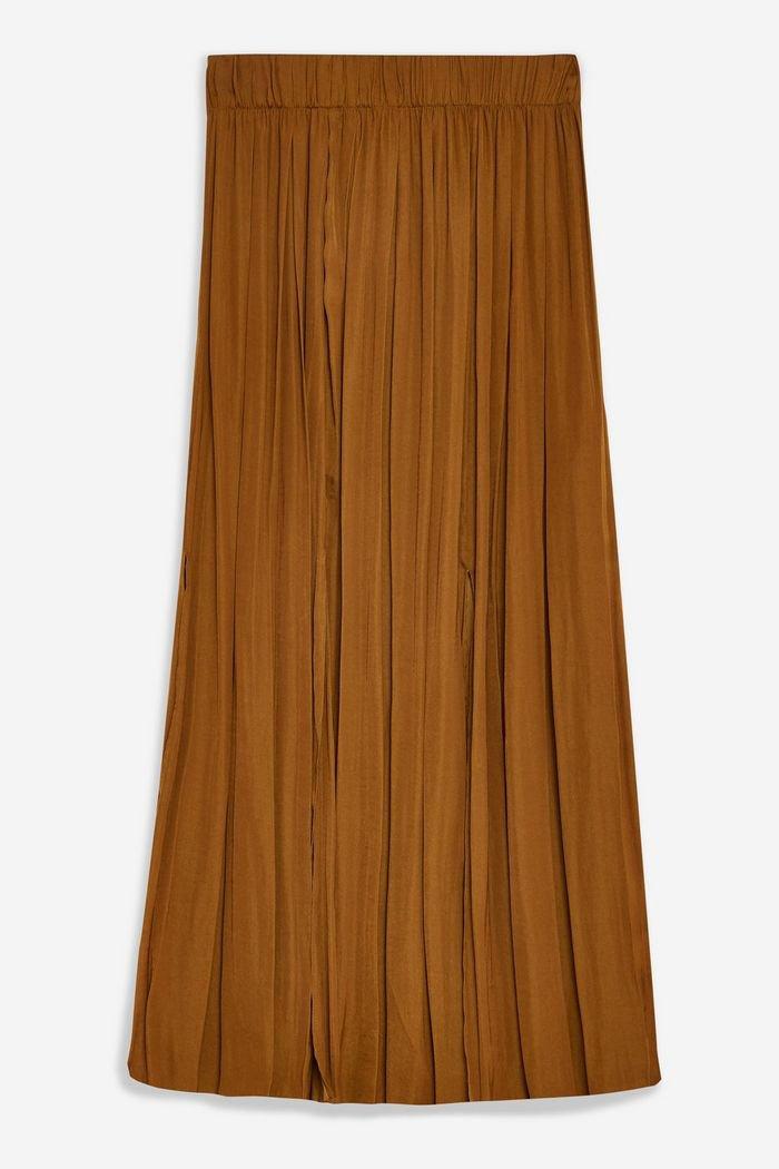 Tan Satin Pleated Midi Skirt   Topshop