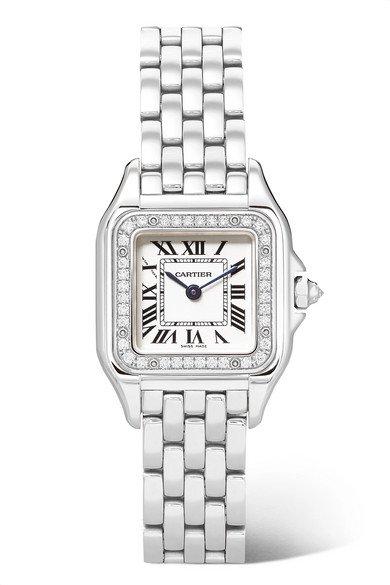 Cartier | Panthère de Cartier 27mm medium stainless steel and diamond watch | NET-A-PORTER.COM