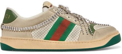 Screener Embellished Canvas-trimmed Distressed Leather Sneakers - Beige
