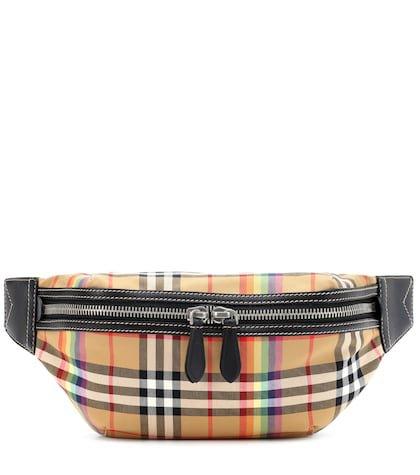 Rainbow vintage check belt bag