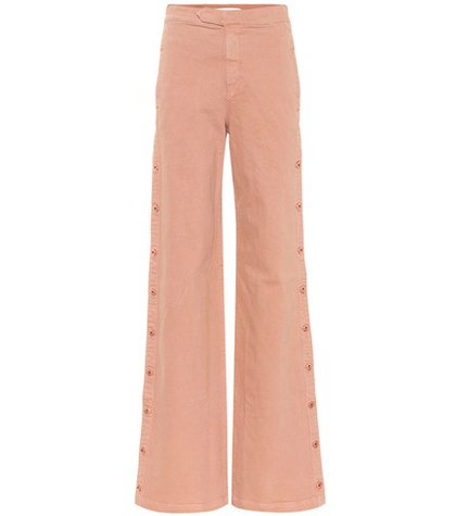 Button-down wide-leg jeans