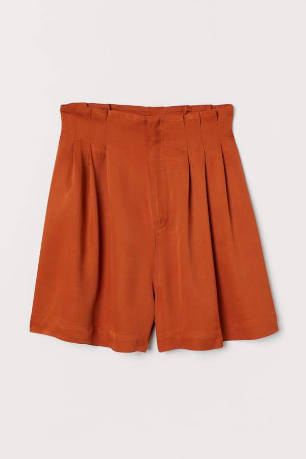 Viscose Twill Shorts - Orange