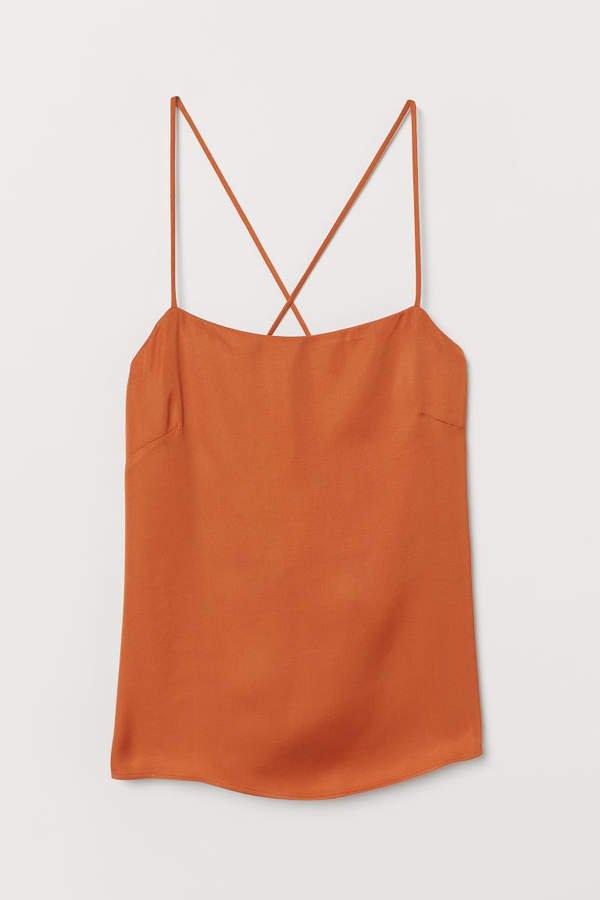 Sleeveless Satin Top - Orange