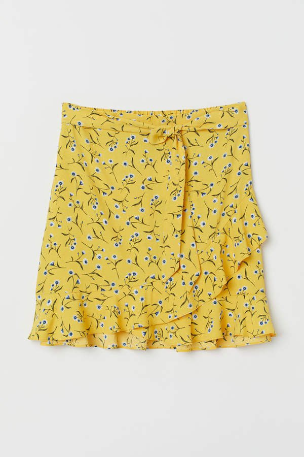 H&M+ Flounced Skirt - Yellow