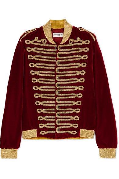 SAINT LAURENT | Metallic braided velvet bomber jacket | NET-A-PORTER.COM