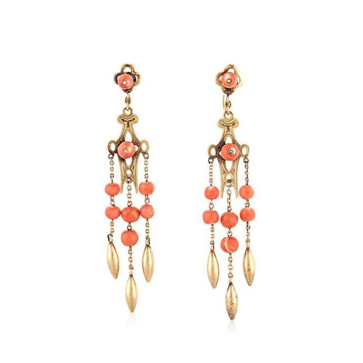 Tenenbaum JewelersAntique Gold and Coral Earrings   Tenenbaum Jewelers