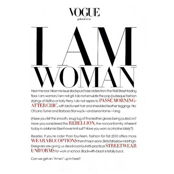 """Vogue: """"I AM WOMAN"""" - Fashion Copious ❤ liked on Polyvore featuring text, words, backgrounds, articles, quotes, magazine, fillers, phr… 