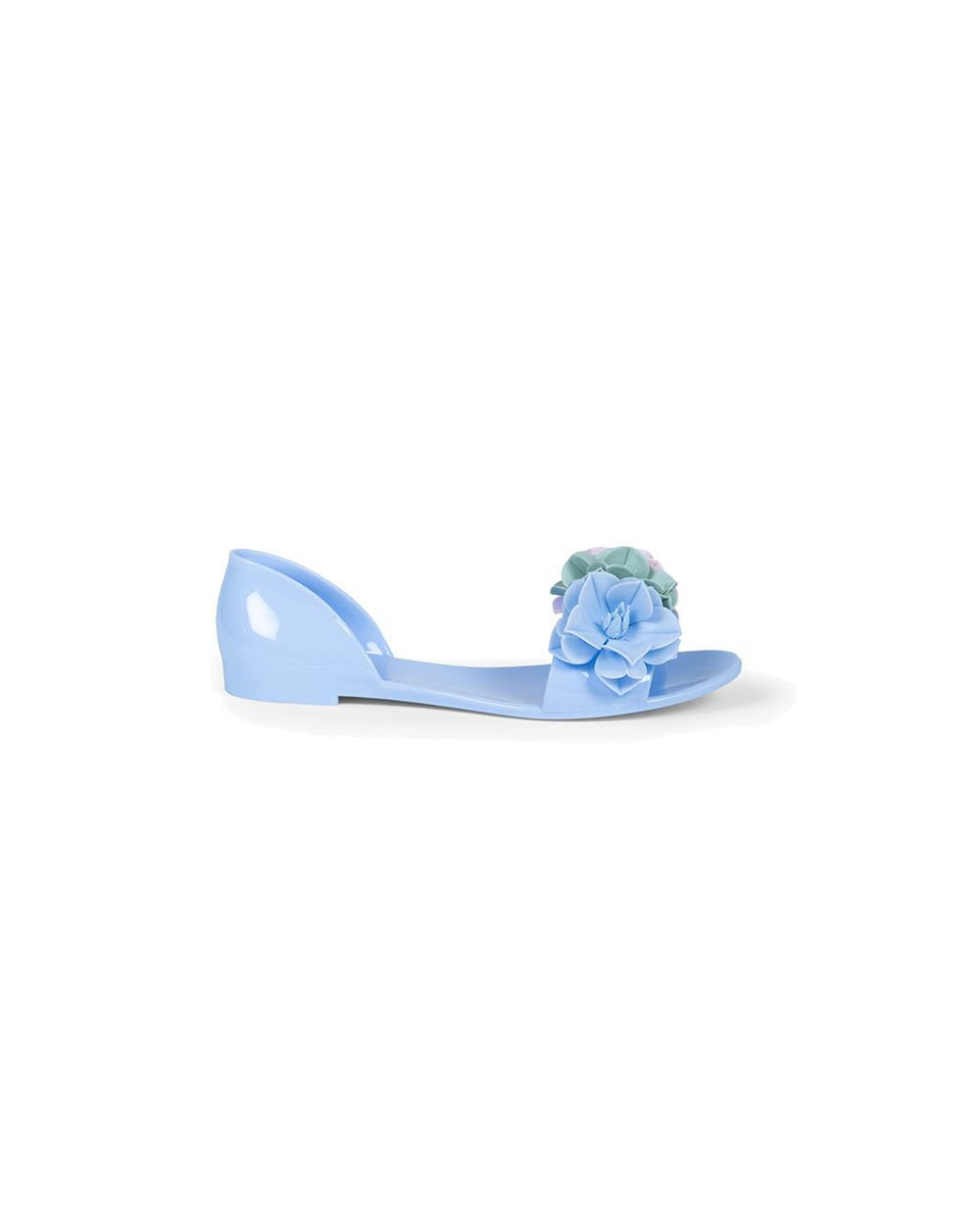 Light blue beach sandals with flowers Jacques Loup for women