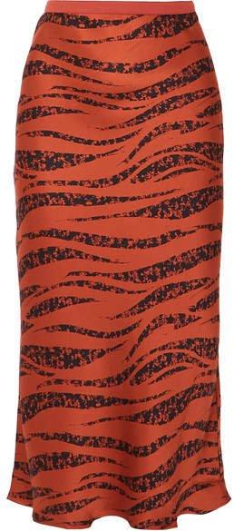 Bar Printed Silk-satin Midi Skirt - Brick
