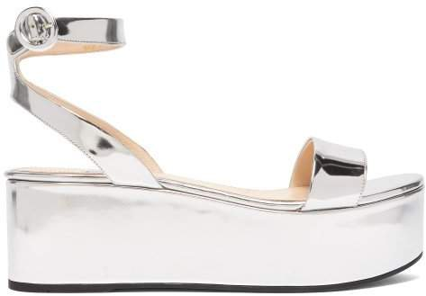Platform Metallic Leather Sandals - Womens - Silver