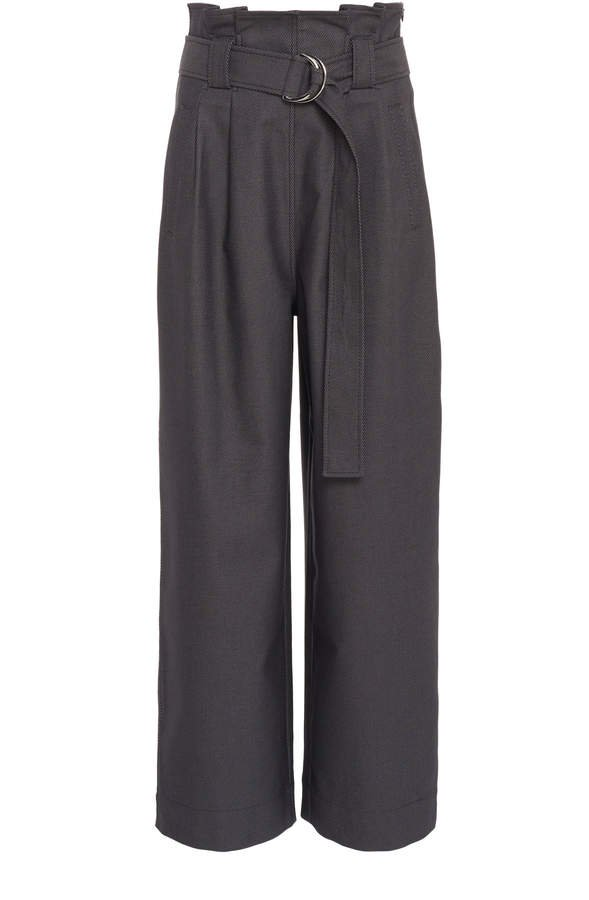 Belted Cotton-Blend Wide-Leg Pants
