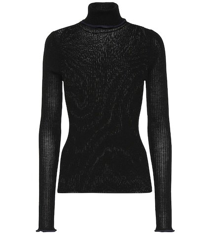 Ribbed knit wool turtleneck sweater