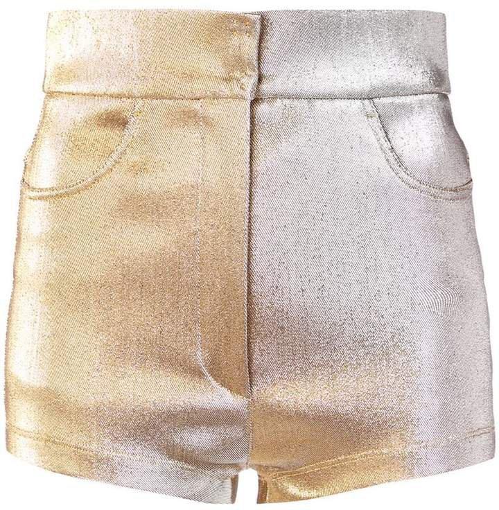 metallic high-rise shorts