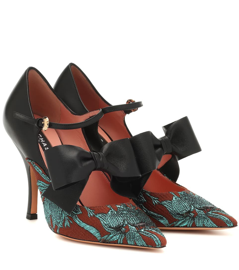 Rochas   brocade and leather pumps