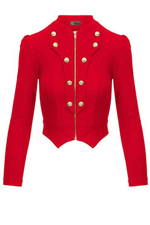 Women's Military Crop Stretch Gold Zip up Blazer Jacket KJK1125X 10909 Blackwhite 1X at Amazon Women's Clothing store