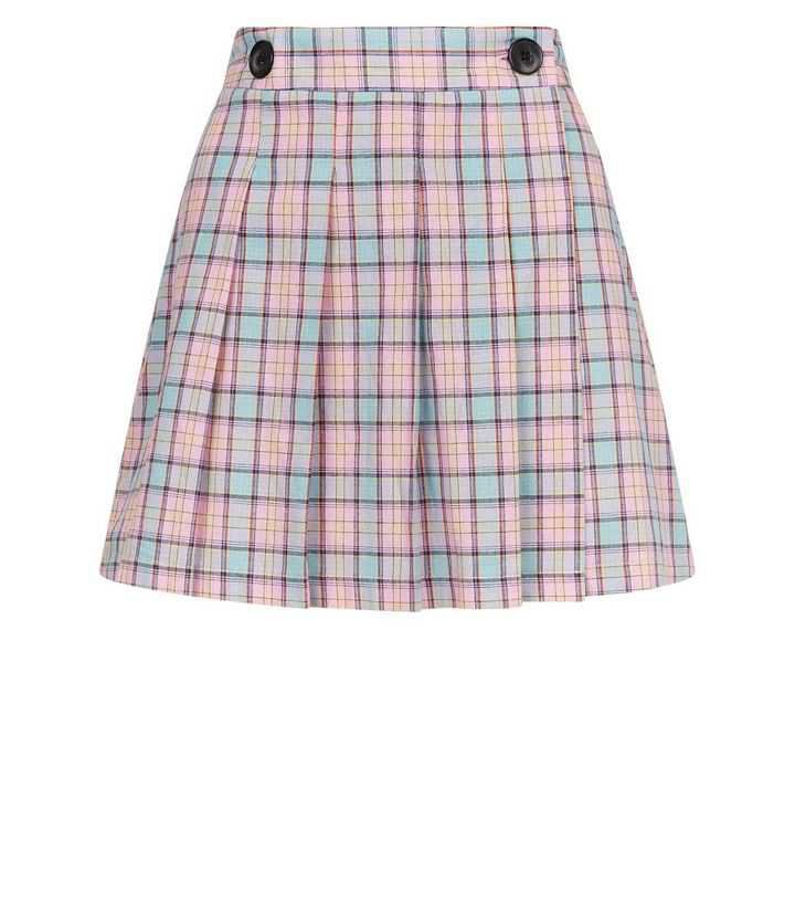 Cameo Rose Pink Check Pleated Mini Skirt | New Look