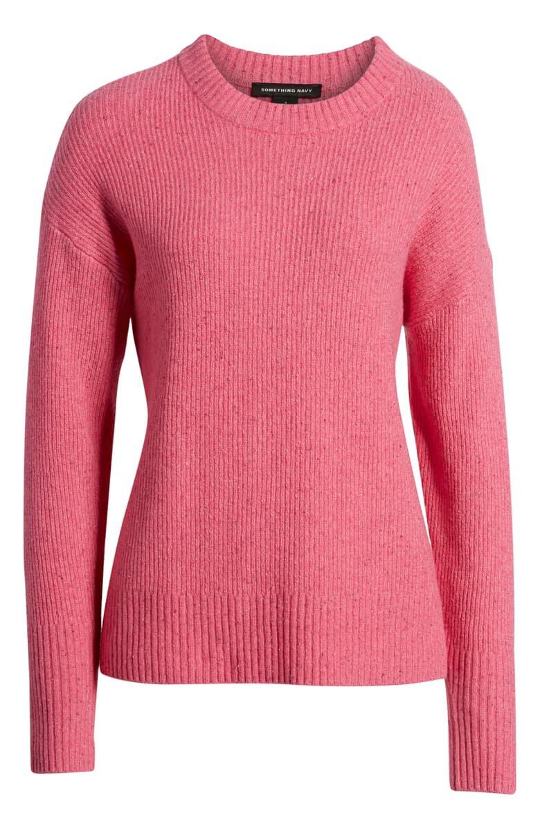 Something Navy Flecked Crewneck Sweater pink